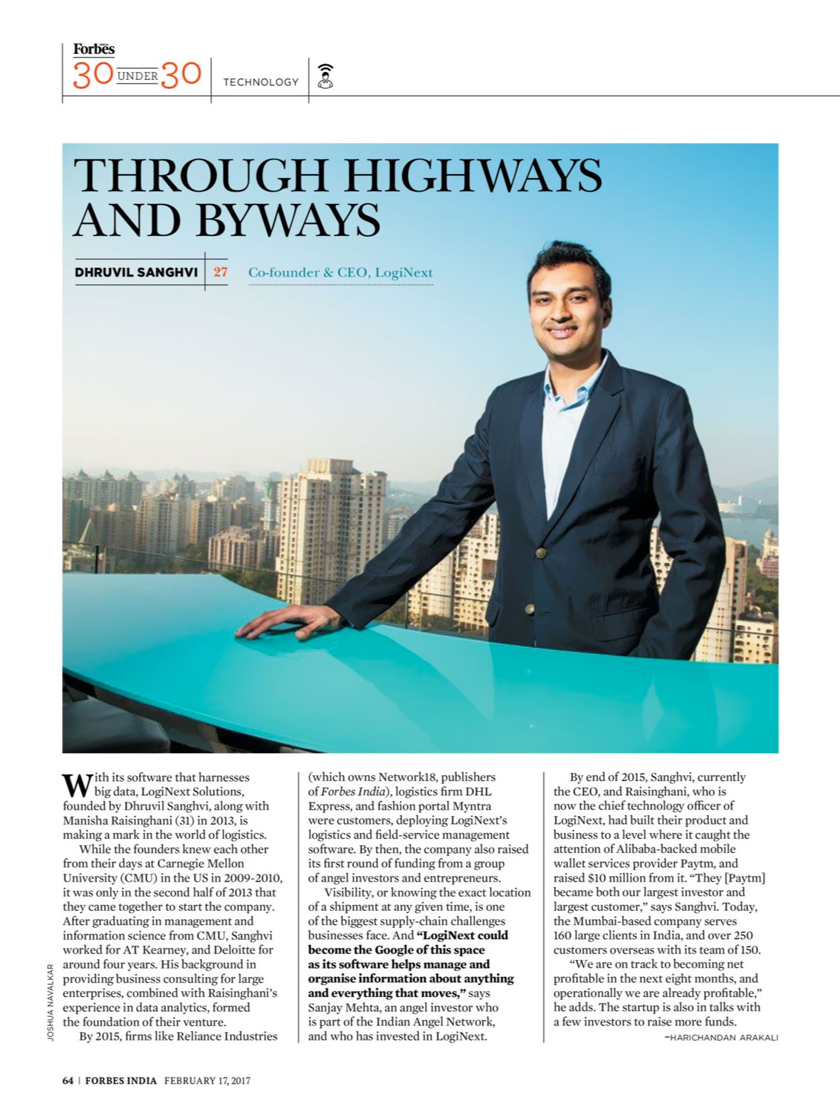 Forbes 30 Under 30 - Dhruvil Sanghvi, CEO, LogiNext